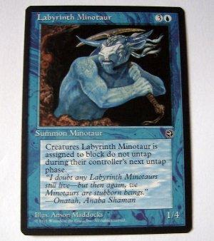 Labyrinth Minotaur (version 2) blue summon Homelands card