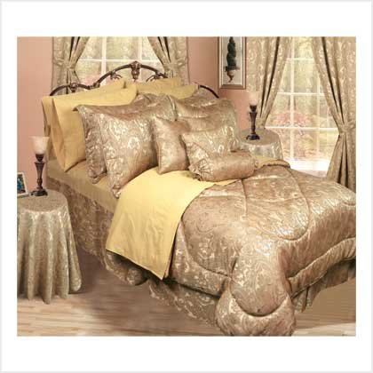 30PC QUEEN BEDDING ENSEMBLE (GOLD)