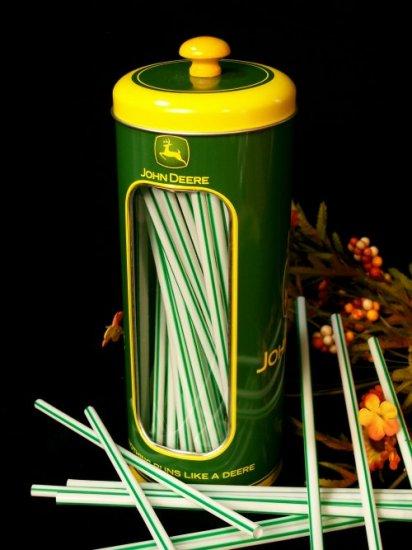 John Deere Straw Holder Tin