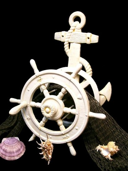 Nautical Ship Wheel & Anchor Hose Reel
