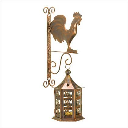 Metal Rooster Wall Lantern Set
