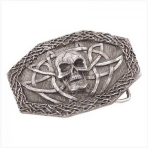 Pewter Skull Belt Buckle