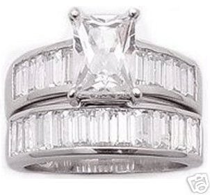 2.70ct EMERALD-CUT SIMULATED DIAMOND ENGAGEMENT WEDDING RING SET