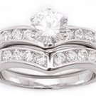 1.85ct BRILLIANT SIMULATED DIAMOND ENGAGEMENT WEDDING RING SET
