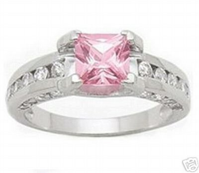 2.21ct PINK PRINCESS CUT SIMULATED DIAMOND ENGAGEMENT WEDDING RING
