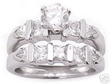 2.60ct BRILLIANT CUT SIMULATED DIAMOND ENGAGEMENT WEDDING RING SET