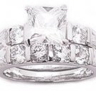 2.75ct PRINCESS CUT SIMULATED DIAMOND ENGAGEMENT WEDDING RING SET