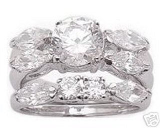 2.88ct BRILLIANT CUT SIMULATED DIAMOND ENGAGEMENT WEDDING RING SET