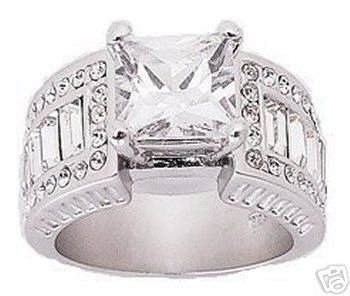 3.42ct PRINCESS CUT SIMULATED DIAMOND ENGAGEMENT WEDDING RING