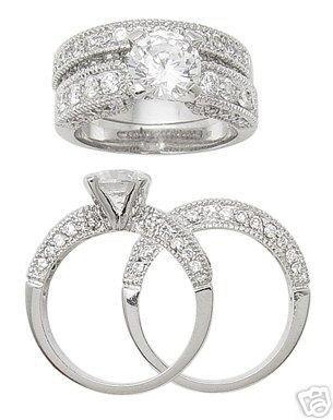 2.15ct BRILLIANT CUT SIMULATED DIAMOND ENGAGEMENT WEDDING RING SET