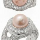 2.35ct PEARL SIMULATED DIAMOND ENGAGEMENT WEDDING RING SET