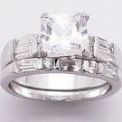 2.38ct PRINCESS CUT SIMULATED DIAMOND ENGAGEMENT WEDDING RING SET