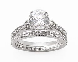 2.95ct BRILLIANT CUT SIMULATED DIAMOND ENGAGEMENT WEDDING RING SET