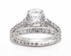 2.95ct BRILLIANT CUT SIMULATED DIAMOND ENGAGEMENT WEDDING RING SET