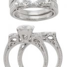 2.98ct BRILLIANT CUT SIMULATED DIAMOND ENGAGEMENT WEDDING RING SET