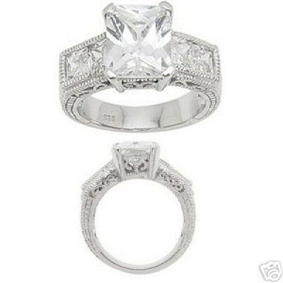 2.48ct EMERALD-CUT SIMULATED DIAMOND ENGAGEMENT WEDDING RING