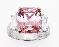 4.95ct EMERALD-CUT PINK SIMULATED DIAMOND ENGAGEMENT WEDDING RING