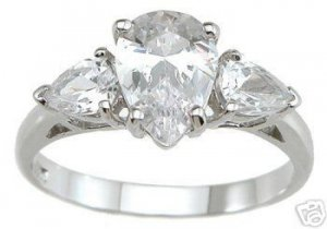 2.05ct PEAR CUT SIMULATED DIAMOND ENGAGEMENT WEDDING RING