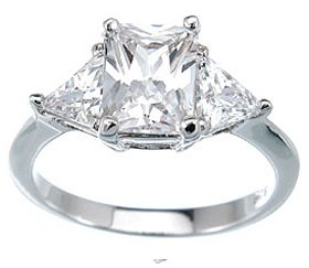 2.10ct RADIANT CUT SIMULATED DIAMOND ENGAGEMENT WEDDING RING