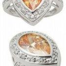 2.31ct CHAMPAGNE SIMULATED DIAMOND ENGAGEMENT WEDDING RING