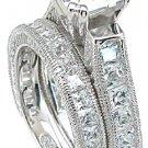 2.50ct PRINCESS CUT SIMULATED DIAMOND ENGAGEMENT WEDDING RING SET