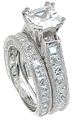 2.50ct PRINCESS CUT SIMULATED DIAMOND ENGAGEMENT WEDDING RING SET
