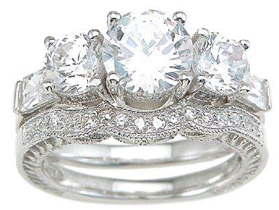 2.69ct BRILLIANT CUT SIMULATED DIAMOND ENGAGEMENT WEDDING RING SET