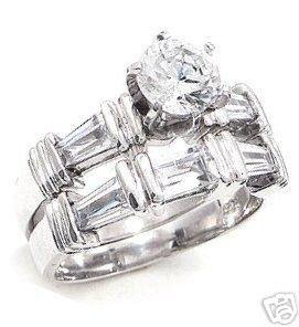 2.14ct BRILLIANT CUT SIMULATED DIAMOND ENGAGEMENT WEDDING RING SET