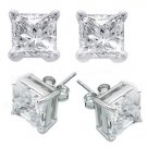 3.0ct PRINCESS CUT SIMULATED DIAMOND EARRINGS
