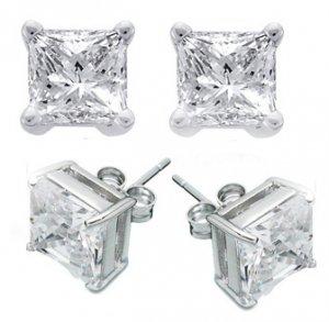 3.0ct PRINCESS CUT SIMULATED DIAMOND EARRINGS