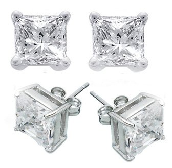8.0ct PRINCESS CUT SIMULATED DIAMOND EARRINGS