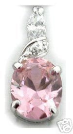 BEAUTIFUL 3.29 CARAT PINK OVAL CUT PENDANT