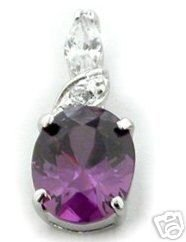 BEAUTIFUL 3.29 CARAT PURPLE OVAL CUT PENDANT