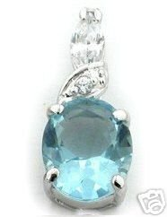 BEAUTIFUL 3.29 CARAT SKY BLUE OVAL CUT PENDANT
