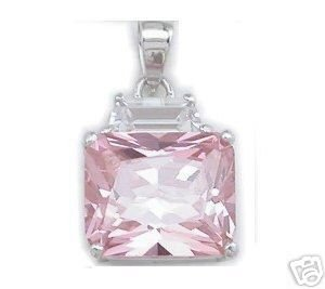 BEAUTIFUL 3.29 CARAT PINK PRINCESS CUT PENDANT