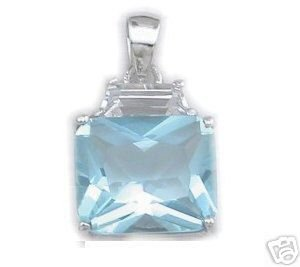 BEAUTIFUL 3.29 CARAT SKY BLUE PRINCESS CUT PENDANT