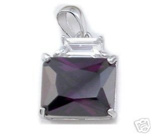 BEAUTIFUL 3.29 CARAT PURPLE PRINCESS CUT PENDANT