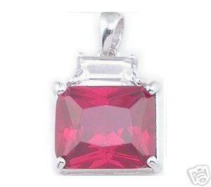 BEAUTIFUL 3.29 CARAT RED PRINCESS CUT PENDANT