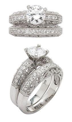 2.77ct BRILLIANT CUT SIMULATED DIAMOND ENGAGEMENT WEDDING RING SET