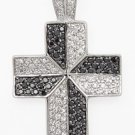 WHITE AND BLACK CZ CROSS PENDANT