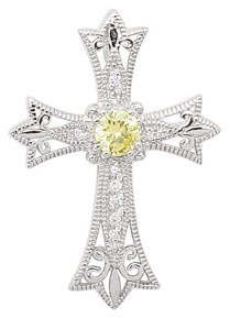 YELLOW CZ CROSS PENDANT