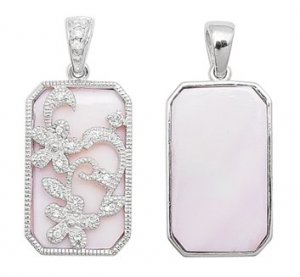 PINK M.O.P. CZ FLORAL CUTOUT PENDANT