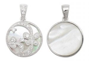 M.O.P. ROUND FLORAL CUT OUT PENDANT