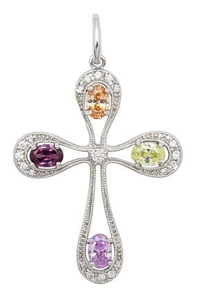MULTI COLOR CZ CROSS PENDANT