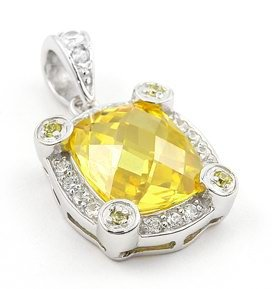 FINE CZ PENDANT WITH LG YELLOW STONE
