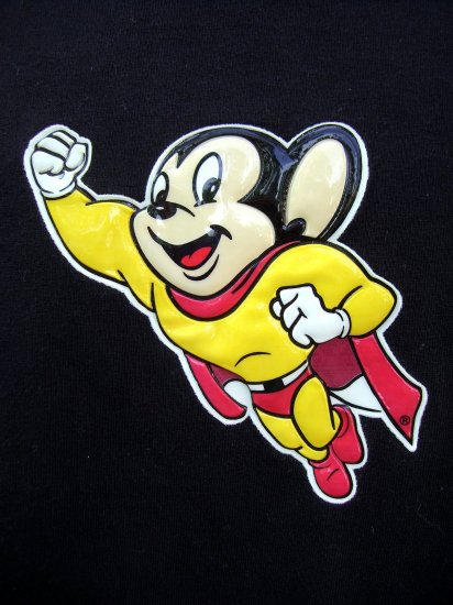 SOLD!   RARE Cartoon MIGHTY MOUSE Large Black T-Shirt