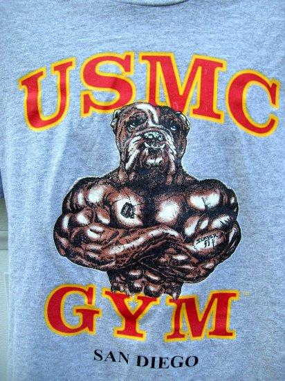 SOLD!  USMC GYM Large T-Shirt Bulldog San Diego Semper Fi United States Marines Marine Corps