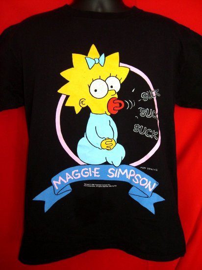 "SOLD! VINTAGE 1990 MAGGIE from ""THE SIMPSONS"" TV SHOW RARE Medium/Large T-SHIRT"