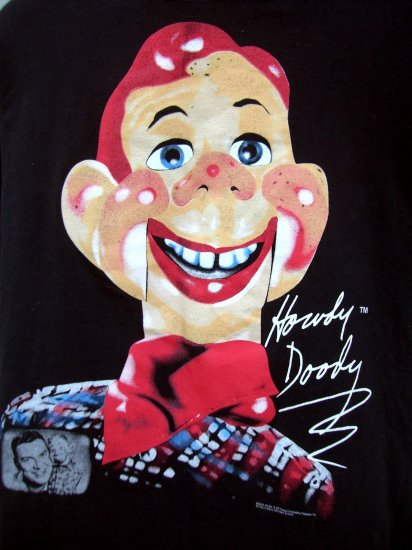 SOLD! RARE HOWDY DOODY XL BLACK T-SHIRT 1997 CLASSIC TV SHOW