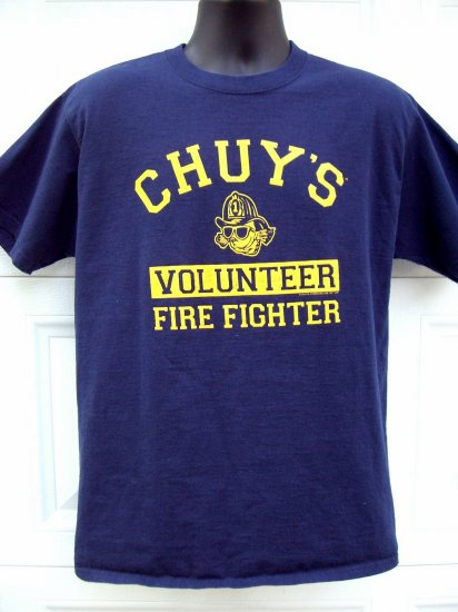 SOLD! CHUY'S VOLUNTEER FIRE FIGHTER T-SHIRT HOUSTON TEXAS Med/Large Blue T-Shirt